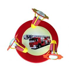Niedliche Deckenleuchte mit Feuerwehrauto - in rot und weiß