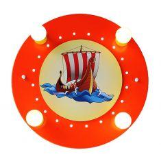 Niedliche Deckenleuchte mit Wikingerschiff in rot