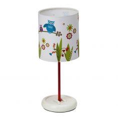 Niedliche LED-Tischleuchte fürs Kinderzimmer mit farbenfrohem Eulen-Dekor - inklusive Leuchtmittel