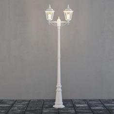 Nostalgische 2-flammige Mastleuchte in Weiß in klassischer Form weiß