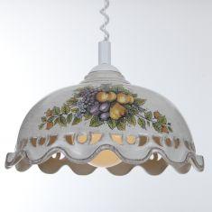 Nostalgische Küchenbeleuchtung - Pendelleuchte mit Spiralkabel - Keramik antik-grau mit Dekor