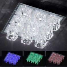 NV-Deckenleuchte mit farbigen LEDs und Fernbedienung - 9-flammig - 36 x 36 cm