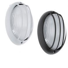 Ovale LED-Außenwandeuchte mit Strukturglas, weiß oder schwarz