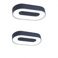 Ovale LED-Leuchte aus Aluminiumguss und Acrylglas, 2 Größen