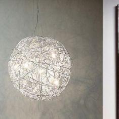 Pendelleuchte aus Aluminiumgeflecht, tolle Strukturen an Wand und Decke, inklusive Leuchtmittel