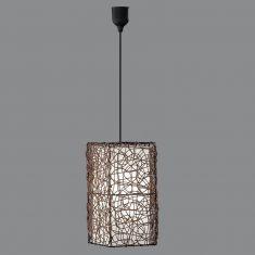 Pendelleuchte aus Metall mit Rattangeflecht umwickelt