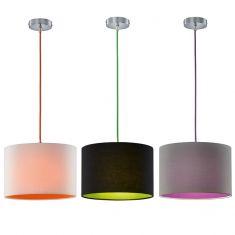 Pendelleuchte Colorit, Stoffschirm 3 Farbvarianten