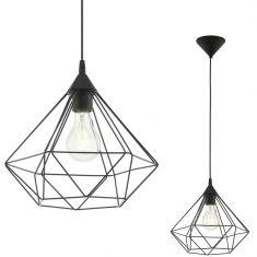 Pendelleuchte im geometrischen Design, Ø 32,5cm - 1flammig - in Schwarz schwarz