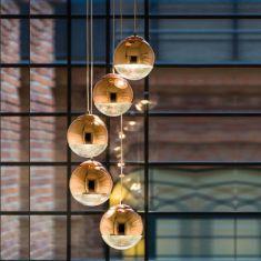 Pendelleuchte Gino Kupfer Glaskugel, 1, 3 oder 5 flammig wählbar