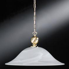 Pendelleuchte in Messing-matt/poliert, mit Alabasterglas Ø46cm - inklusive Leuchtmittel AGL E27 60W