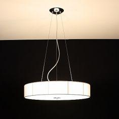 Pendelleuchte mit Organzastoff in weiß bezogen, Energiesparlampen einsetzbar, D = 60,5 cm
