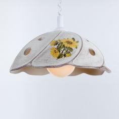Pendelleuchte mit Spiralkabel, Keramik Sonnenblumen-Dekor