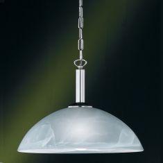Pendelleuchte in Nickel-matt mit Alabasterglas Ø40cm - inklusive Leuchtmittel 1x E27 60W