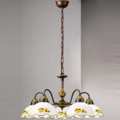 Pendelleuchte Nonna von Kolarz® mit Zitronen 5- flammig 5x 60 Watt, 57,00 cm, 55,00 cm, 100,00 cm