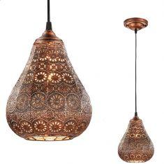 Pendelleuchte im orientalischen Stil in Kupfer antik - Ø 19cm 1x 40 Watt, kupfer, antik