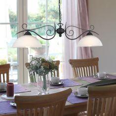 Pendelleuchte rostfarben mit Alabasterglas weiß, 2-flg.