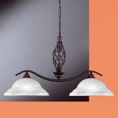 Pendelleuchte rostfarbig antik mit Alabasterglas weiß, 2-flammig