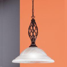 Pendelleuchte rostfarbig antik mit Alabasterglas weiß, 1-flammig