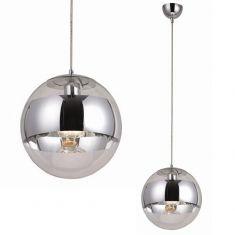 Pendelleuchte, Glas und Chrom Kombination, in 2 Größen