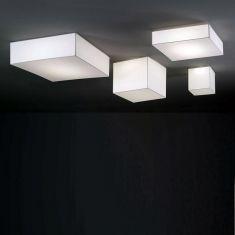 Quadratische LED-Deckenleuchte mit Textilüberzug
