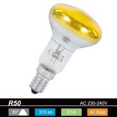 R50 Reflektor, 30° Abstrahlwinkel, 40 Watt, E14, in Gelb 1x 40 Watt, gelb