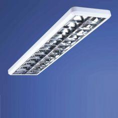 Rasterleuchte in Weiß, Raster in Aluminium glänzend - Für LED Röhren mit G13 Sockel