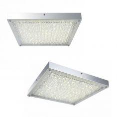 Rechteckige LED Deckenleuchte - Chrom - Kristall - 40cm x 40cm, 1 x 20W, 2236lm,