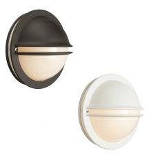 Runde Außenwandleuchte mit weißem Opalkunststoffglas - Oberfläche in 2 Farben