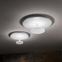 Runde LED-Deckenleuchte aus weißem Metall - 2 Größen