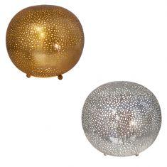 Runde Tischleuchte Sikri in Gold oder Nickel