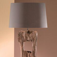 tischleuchte aus holz mit stoffschirm weiss wohnlicht. Black Bedroom Furniture Sets. Home Design Ideas