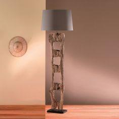 Rustikale Standleuchte aus Holz mit Stoffschirm - handgefertigt  - braun