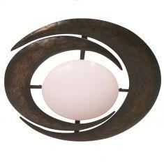 Rustikale Wand- oder Deckenleuchte - Stahl - Opal Glas weiß matt - Braun