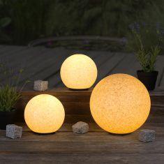 Sandsteinoptik 3er-Set Kugelleuchten 2x 20 und 30 cm Ø, inkl. 6W LED