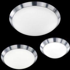 Schlichte LED Deckenleuchte für eine gleichmäßige Raumbeleuchtung in Aluminium gebürstet - 3 Größen - 3 Wattagen