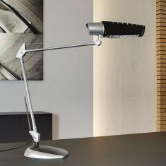 Schreibtischleuchte in silber mit blauem Lichteffekt und inklusive 20W Energiesparlampe