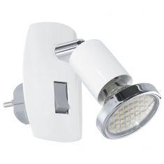 Schwenkbare LED-Steckerleuchte aus Stahl - in weiß weiß/chrom