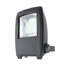 Schwenkbarer LED Baustrahler aus grauem Aluminium mit Klarglas inklusive LED-Leuchtmittel und LED-Taschenlampe