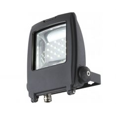 Schwenkbarer LED-Baustrahler aus grauem Aluminium mit Klarglas inklusive LED-Leuchtmittel 10W- inklusive  LED-Taschenlampe