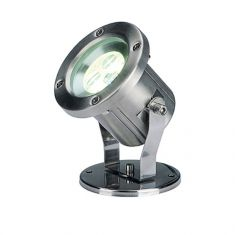 Schwenkbarer LED-Strahler aus Edelstahl, IP55  für den Außenbereich, 360° schwenkbar, LED-Lichtfarbe warmweiß