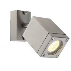 Schwenkbarer LED-Wandspot aus Edelstahl, Glas klar, IP44, inklusive 1 x GU10 - 4,5Watt LED