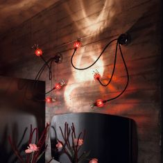 Serien-Lighting 3-flammige Wandleuchte Poppy - schwarz