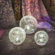 Solar LED Glaskugelset Crackle Balls, kaltweiße LEDs