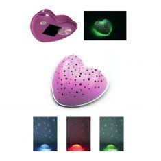 Solar LED Nachtlicht rosa Herz mit Sternenhimmel-Projektion und Farbwechsel - inklusive Taschenlampe