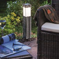 Solar LED-Standleuchte Rattan mit Erdspieß mit warmweißer LED 3500°K