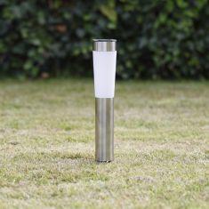 Solar-LED Sockelleuchte aus Metall  in edelstahl mit Erdspieß