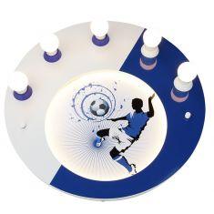Sportliche Deckenleuchte mit Fußballer in blau/weiß blau/weiß
