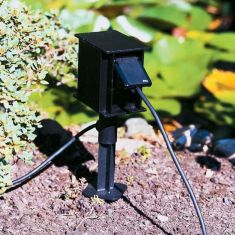 Steckdosenspieß aus Aluminiumguss in Schwarz mit 2 Steckdosen 2-fach Steckdose, 40,50 cm