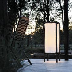 Stehlampe für Außen aus Aluminium/Stoffplane, Höhe 101cm