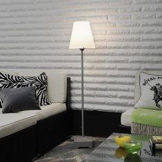 Stehlampe für Außen aus Aluminium, weißer Kunststoffschirm, Höhe 151cm